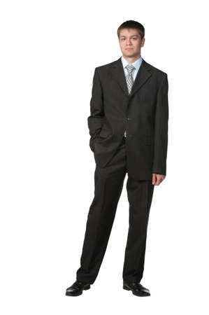 chief executive officers: The young businessman in a suit. It is isolated on a white background