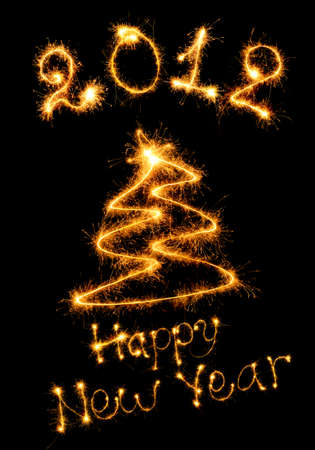 Postcard of a congratulation happy New Year. Bengal fires Stock Photo - 10424965