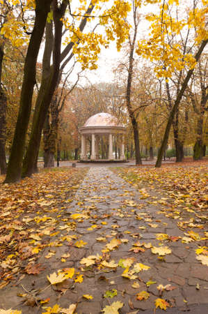summer house: Autumn park with a footpath to summer house. The Lvov park Stock Photo