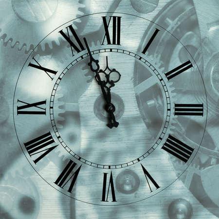 turns of the year: Antiguos horas con flechas importante mecanismo de desenfoque de fondo.Las flechas y las cifras romanas
