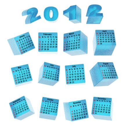 Calendar for ice cubes. Transparent three-dimensional cubes Stock Photo - 10588854