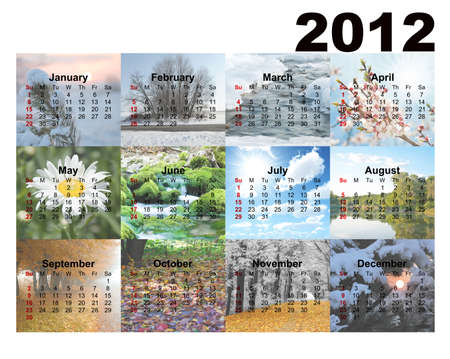 Calendar with photos seasons. 2012 years Stock Photo - 10695067