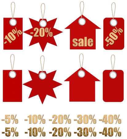 Set of labels on ropes with percent discounts. Separately empty preparations and a set of the size of discounts.Part 1 photo