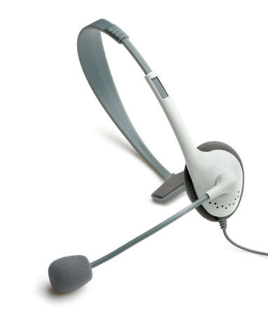 handsfree telephones: headphone with a microphone. It is isolated on a white background