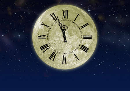 moonshine: The moon with arrow clock in the star sky. Concept eve of New year Stock Photo