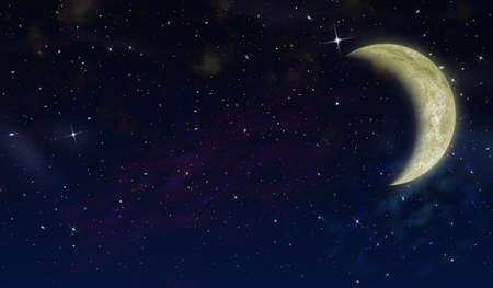 La media luna en el cielo de estrellas. La imagen detallada