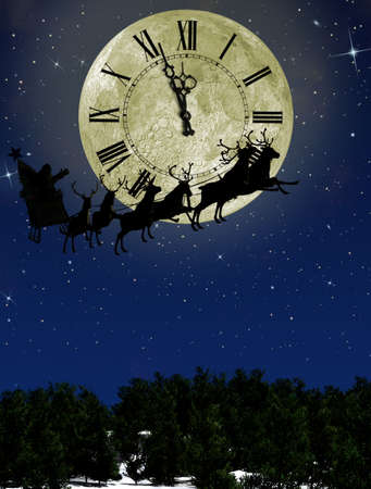 against the clock: Santa Claus On Sledge With Deer against the bright moon with arrows clock. Concept eve of New year