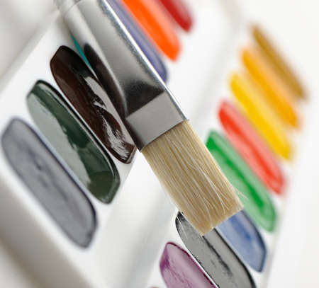 flat brush: Brush with paints. Selective focus. A photo close up Stock Photo