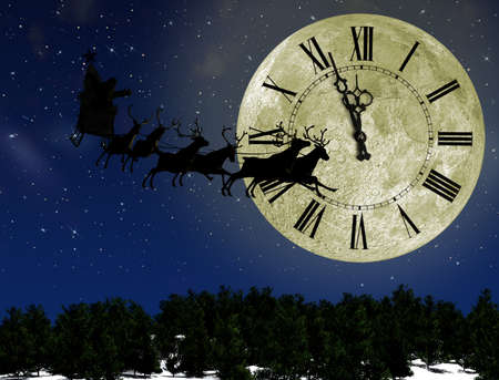 Santa Claus On Sledge With Deer against the bright moon with arrows clock. Concept eve of New year Stock Photo - 10825624