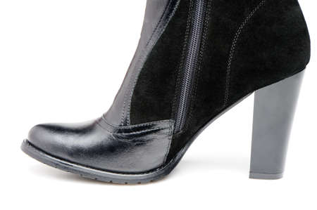 heelpiece: Fragment female leather shoes. A photo close up Stock Photo