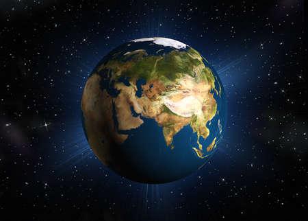 madre terra: Il pianeta terra. Eurasia.High qualit� di rendering 3d madre Terra con illuminazione posteriore. Spazio con le stelle