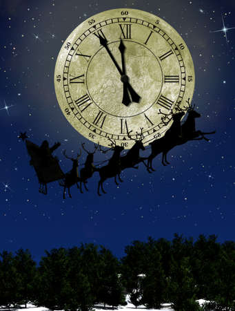moonlit: Santa Claus On Sledge With Deer against the bright moon with arrows clock. Concept eve of New year