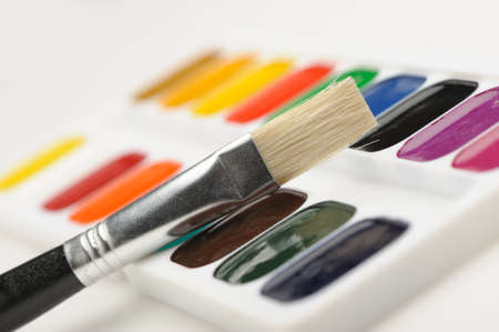 Brush with paints. Selective focus. A photo close up Stock Photo - 10901031