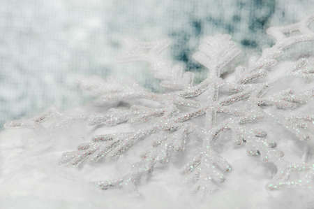 Snowflake big close up. Bokeh a background. Toning is blue Stock Photo - 10900826