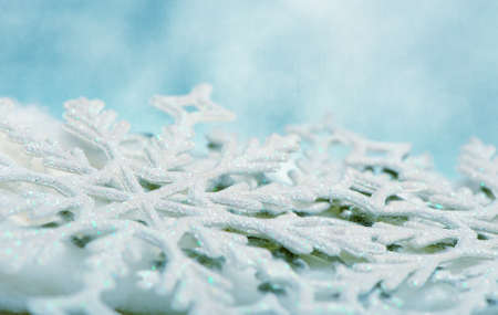 Snowflake big close up. Bokeh a background. Toning is blue Stock Photo - 10900828