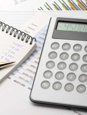 corporate waste: The calculator and the financial report. A workplace of the businessman
