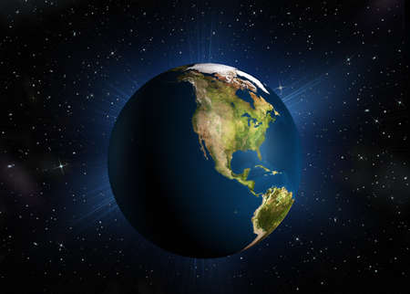 The planet earth.The North America. High-quality 3d rendering mother Earth with back illumination. Space with stars Stock Photo - 11000843