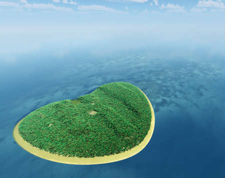 Island in the form of heart. 3D rendering photo