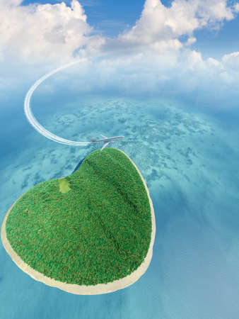 Island in the form of heart and the flying plane. 3D rendering Stock Photo - 11000844