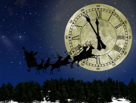Santa Claus On Sledge With Deer against the bright moon with arrows clock. Concept eve of New year photo