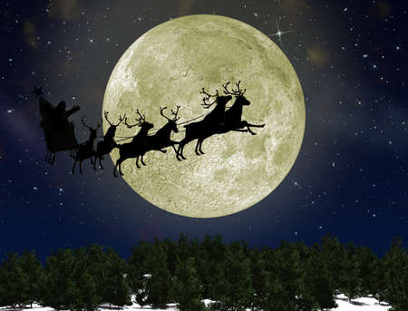 Santa Claus On Sledge With Deer against the bright moon. Concept eve of New year photo