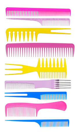 plastic comb: Set multi-coloured transparent combs. It is isolated on a white background