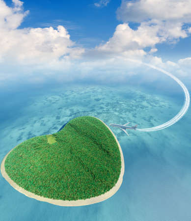 Island in the form of heart and the flying plane. 3D rendering Stock Photo - 11205584