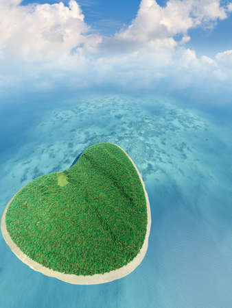 Island in the form of heart. 3D rendering Stock Photo - 11205816