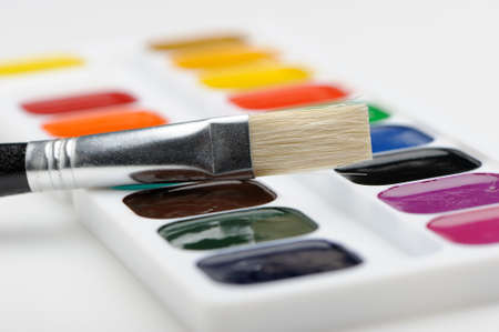 Brush with paints. Selective focus. A photo close up Stock Photo - 11205635
