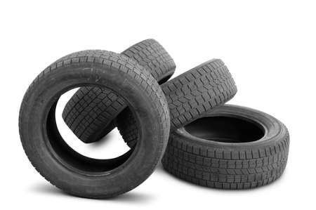Automobile tyre covers were in the use. It is isolated on a white background photo