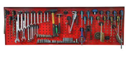 garage background: Set of the working tools. Isolated on white background