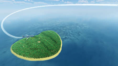 Island in the form of heart and the flying plane. 3D rendering photo