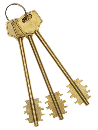 Three gold keys. It is isolated on a white background photo