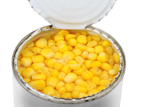 sweet pea: cans of corn. Iron packaging, a photo with top