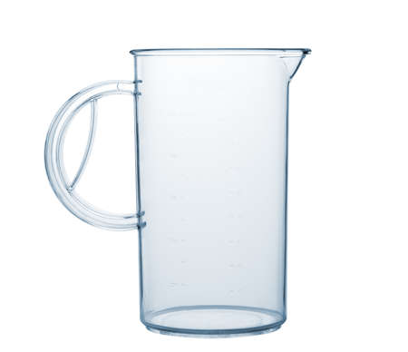 water jug: Measured transparent empty glass. Isolated on white background Stock Photo
