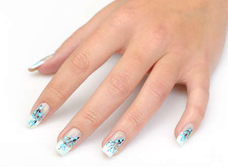Female hand with manicure close up. Drawing of a branch with blue flowers. It is isolated on a white background. Stock Photo - 11347266