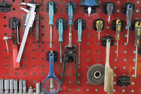 Set of the working tool at the stand. A workplace of the mechanic Stock Photo - 11347215