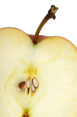 apple core: Texture cut an apple. A detailed photo of fruit on a white background Stock Photo