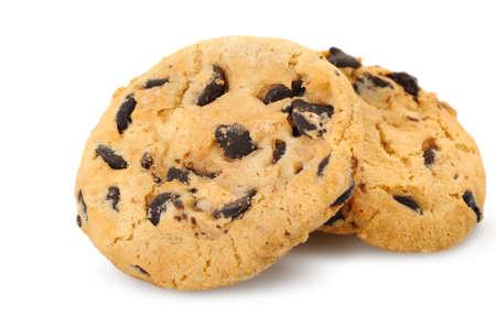 chocolate chip cookies: chocolate chip cookies isolated on a white background. Photo closeup