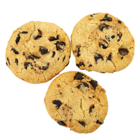baked goods: chocolate chip cookies isolated on a white background. Photo closeup