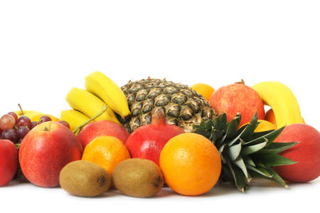 sweet  food: Set of exotic fruit. A detailed photo on a white background