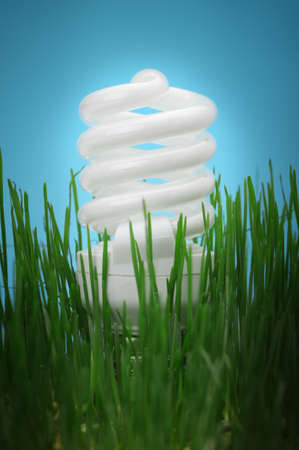 Energy saving compact fluorescent lightbulb in a green grass and on a blue background photo