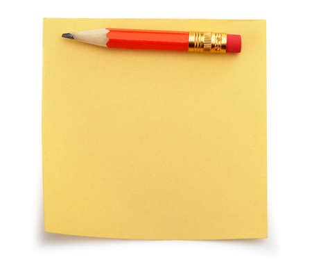 postits: Paper note and a red pencil. It is isolated on a white background