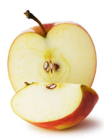 half an apple: The cut apple. A detailed photo of fruit on a white background