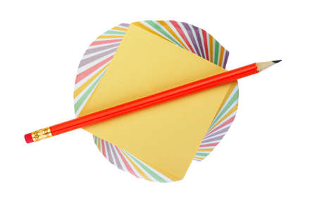 red pencil: Paper note and a red pencil. It is isolated on a white background