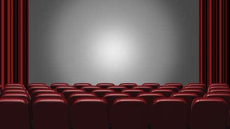 cinema seats: Cinema auditorium. 3d rendering. View on the screen