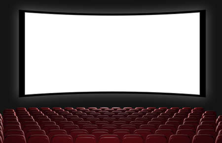 theater auditorium: Cinema auditorium. 3d rendering. View on the screen