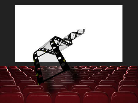 Cinema auditorium. The film takes off from the screen. 3d rendering. View on the screen photo