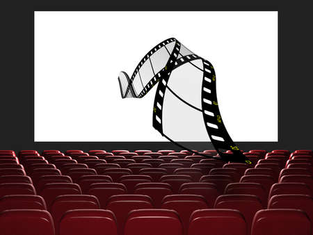 Cinema auditorium. The film takes off from the screen. 3d rendering. View on the screen Stock Photo - 11938338