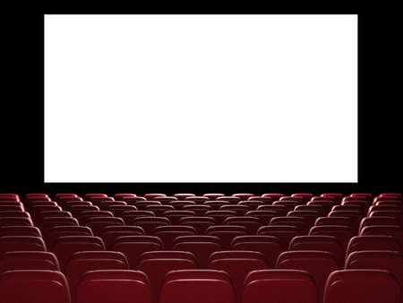 영화관 강당. 3D 렌더링합니다. 화면에보기